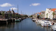 View to the buildings and boats at Delfshaven in Rotterdam, Netherlands. Stock Footage