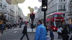 Regent Street crowds of people, Central London, England Stock Footage