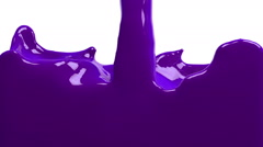 Violet paint fills up screen, isolated on white FULL HD with alpha matte Stock Footage