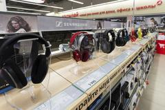 Khimki, Russia - December 22 2015. earphones in Mvideo large chain stores - stock photo