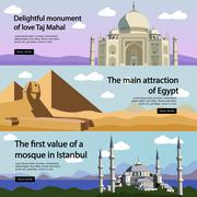 Travel banner vector set. International culture, tourist attractions and - stock illustration