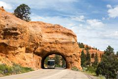 RV Red Canyon Tunnel Utah Stock Photos