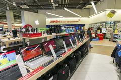 Khimki, Russia - December 22 2015. Laptops In Mvideo large chain stores selling Stock Photos