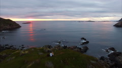 Stock Video Footage of Couple watching midnight sun in Norway, Vesteralen