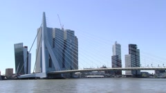 Exterior of the famous Erasmus bridge in Rotterdam, Netherlands. Stock Footage