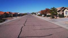 Driving On Residential Street With New Suburban Homes- Kingman AZ Stock Footage