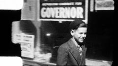 Boy Walks Street Chicago Great Depression WW2 1930s Vintage Film Home Movie 8913 - stock footage