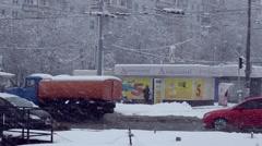 Snowplows on the streets Kharkov, Ukraine. - stock footage