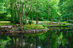 Pond in the Botanical Park in Palanga, Lithuania Stock Photos