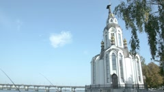 The temple in honor of ST. John the Baptist and the bridge over the river. Stock Footage