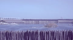 View of the hydroelectric power plant due to the stockade Zaporozhye Stock Footage