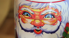 Close-up, toy, macro,the face of Santa Claus Stock Footage