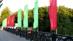 Red and green flags on Independence Avenue, Minsk - stock footage
