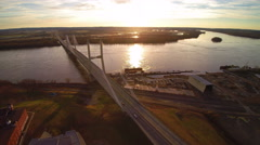 4K static high angle shot of very scenic bridge on the Mississippi River Stock Footage