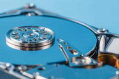 Hard disk driver open closeup view - stock photo
