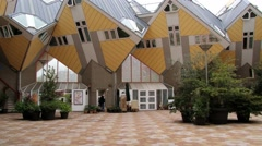 Exterior of the famous cube houses in Rotterdam, Netherlands. Stock Footage