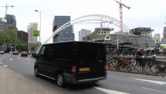 Cars pass by the street in Rotterdam, Netherlands. Stock Footage