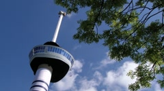 Exterior detail of the Euromast tower in Rotterdam, Netherlands. Stock Footage