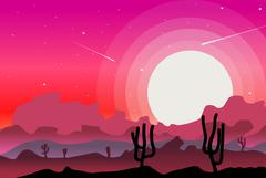 Desert wild nature landscapes with cactus  background vector Stock Illustration