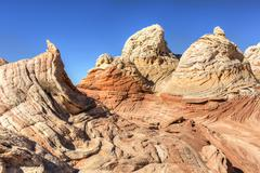 Impossible Rock Formations in the White Pocket - stock photo