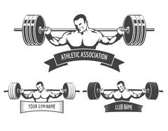 Stock Illustration of Powerlifting Athletic Logo Set