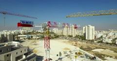 Crane Construction site - aerial  shot Stock Footage
