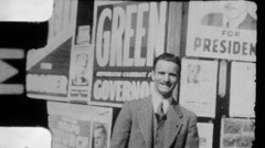 Election Year Campaign Posters Chicago Voter 1930s Vintage Film Home Movie 8921 Stock Footage