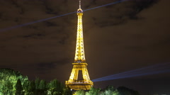 Time Lapse of the Eiffel Tower on a Cloudy Evening - Paris France Stock Footage