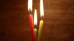 Time lapse: three candles burning Stock Footage