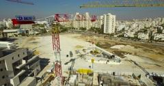 crane, Building, - aerial shot Stock Footage