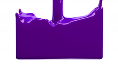 violet paint fills up screen, isolated on white FULL HD with alpha matte - stock footage