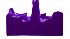 Violet paint fills up screen, isolated on white FULL HD with alpha channel Stock Footage