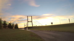 4K scenic sunrise time lapse at beautiful suspension bridge Stock Footage