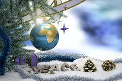 Happy New Year and Merry Christmas background with earth and peace word - stock illustration