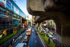Traffic and skytrain tracks at Siam, in Bangkok, Thailand. Stock Photos
