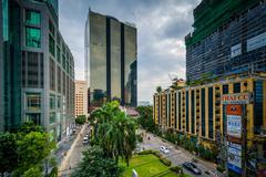 Modern buildings at Surasak, in Bangkok, Thailand. - stock photo