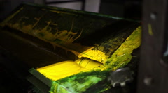 Industrial Offset Press Yellow Paint - stock footage
