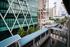 Elevated walkways and modern buildings at Surasak, in Bangkok, Thailand. - stock photo