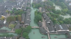 Aerial view of Wu Zhen China, the Town of Canals Stock Footage