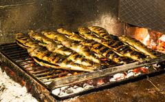 Stuffed Trouts cooked on wood embers. Stock Photos