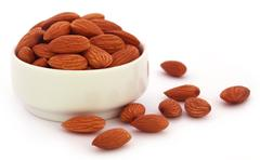 Fresh almonds - stock photo