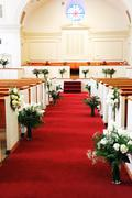 red carpet in church for wedding ceremony - stock photo