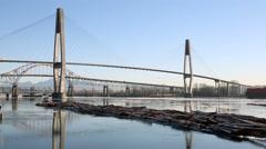 Log Boom Maneouvering, Fraser River Winter - stock footage