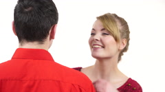 Couple. Woman whispering to man ear hugging partner 4K Stock Footage