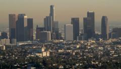 Hollywood Hills to Downtown LA Pan Up - stock footage