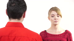 Stock Video Footage of Couple having argument. Man and woman in disagreement 4K
