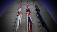 Brittish War Memorial Flags Stock Footage