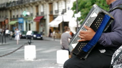 Accordian Player in Paris Stock Footage