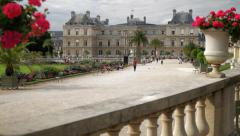 Luxembourg Palace Paris Pan Down Stock Footage