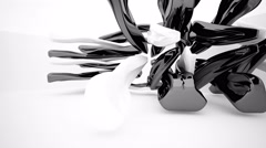 Abstract interior with glossy black sculpture. 3D rendering Stock Footage